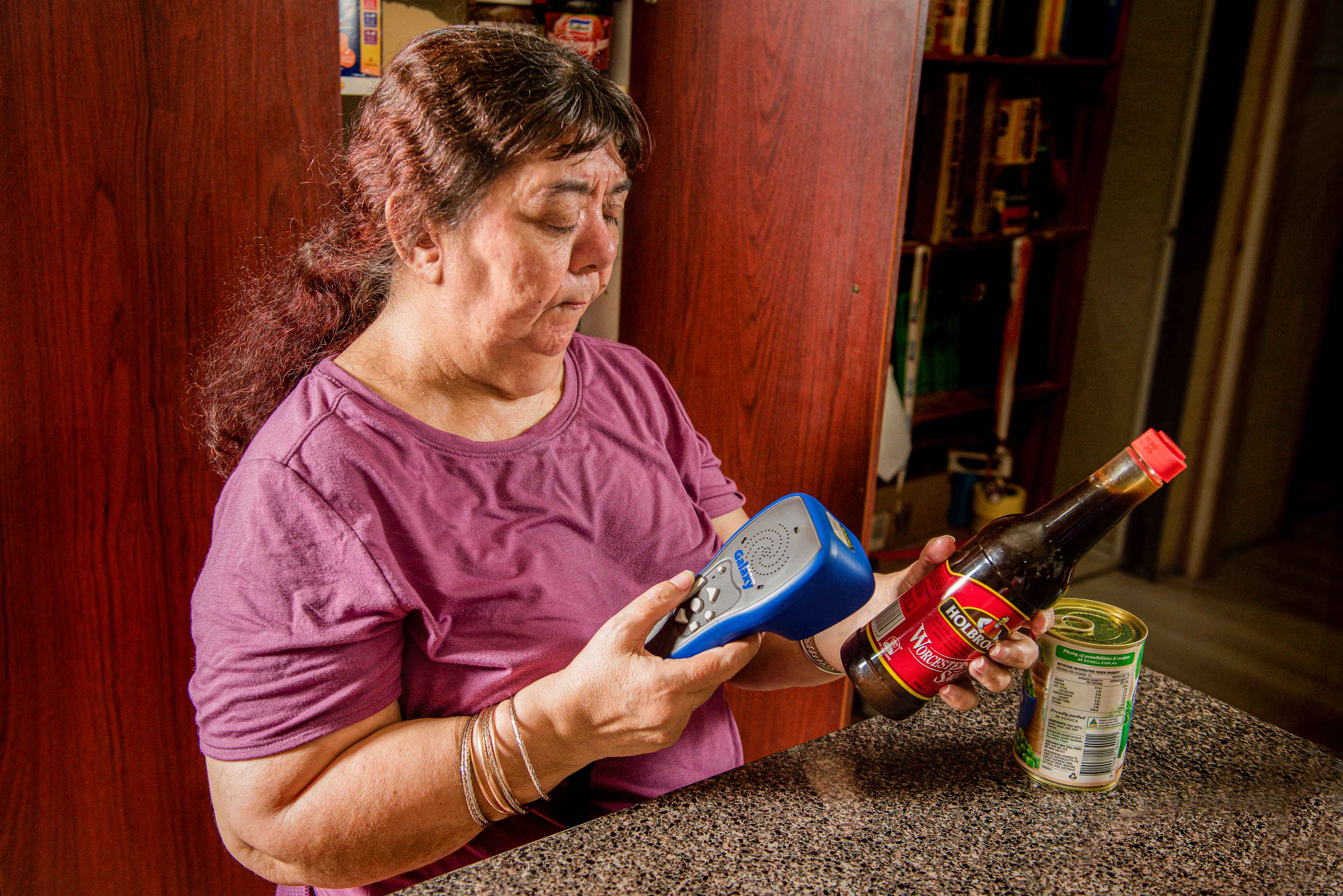 Maria O'Hara scanning food using her digital barcode scanner