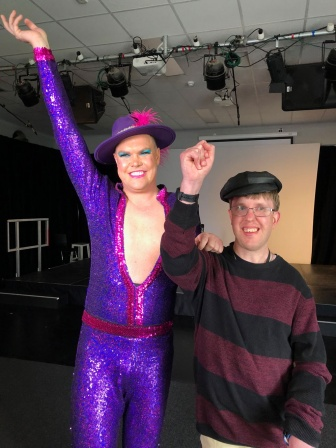 NDIS participant Dougie Jacobssen interviews international performer Hans, aka Matt Gilberton on Radio Tutti