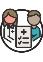 Graphic of a doctor, a checklist and a patient